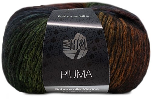 Lana Grossa Piuma 004 Bordeaux / Petrol / Camel / Black