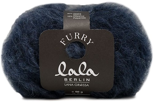 Lana Grossa Lala Berlin Furry 008 Black Blue
