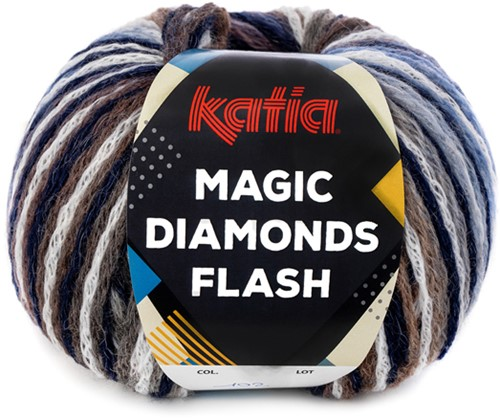 Katia Magic Diamonds Flash 102 Blue-White-Grey-Medium blue