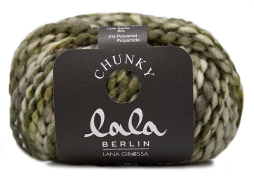 Lana Grossa Lala Berlin Chunky Print 104 Olive / Yellow-Green / Ecru / Dark Grey