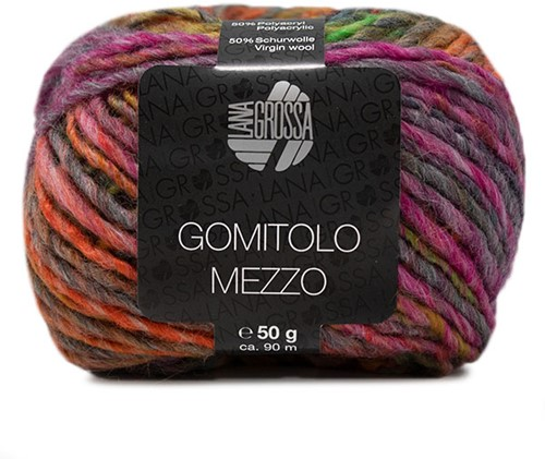 Lana Grossa Gomitolo Mezzo 115 Red / Anthracite / Orange / Green / Petrol / Yellow / Grey