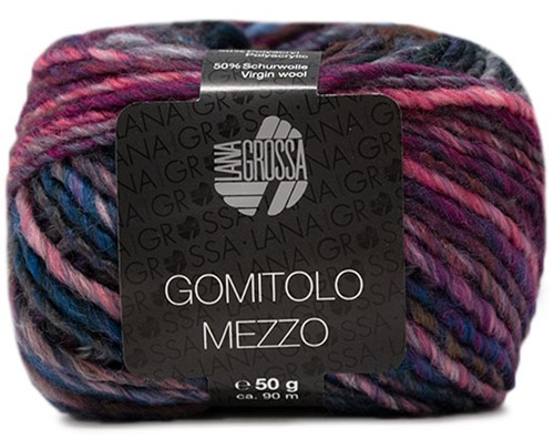 Lana Grossa Gomitolo Mezzo 119 Red Violet / Red-Brown / Light Blue / Jeans / Royal / Pink