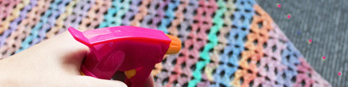 Spray blocking your knitting