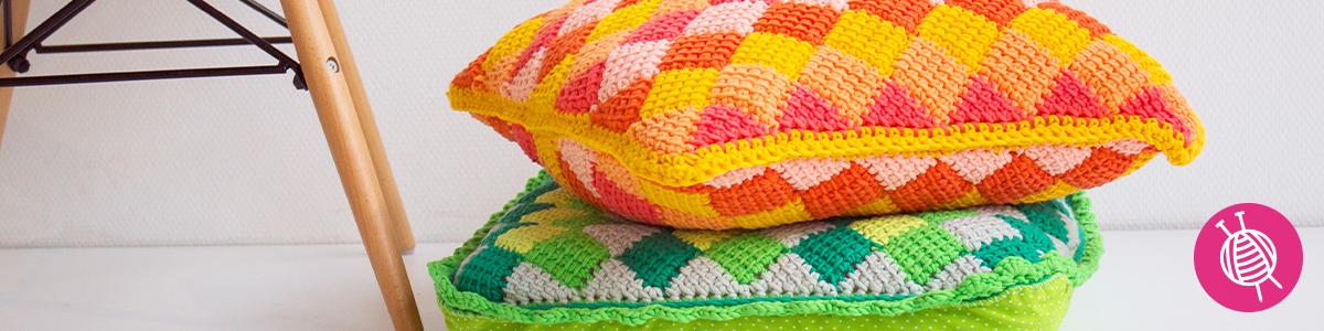 Tunisian Entrelac Crochet - Free Pattern Pillow Cover