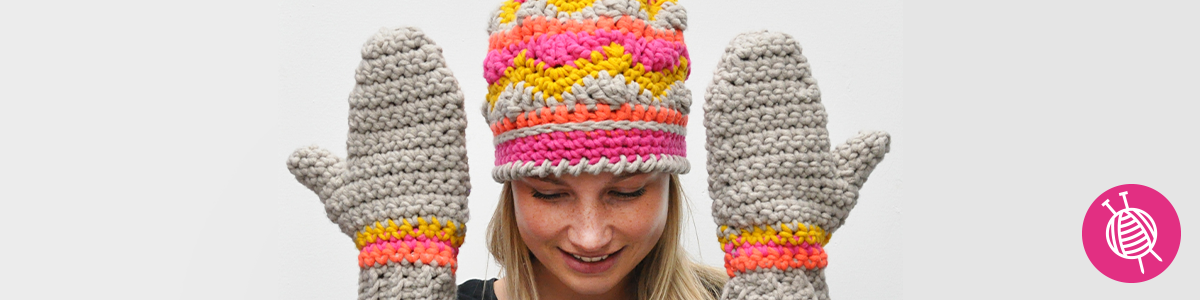 Crochet a cheerful hat and mittens
