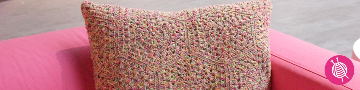 Crocheted cushion with Phildar Carnaval