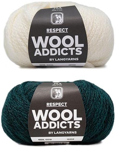 Wooladdicts Hidden Feelings Sweater Knit Kit 2 L Moss Mélange / Off-White