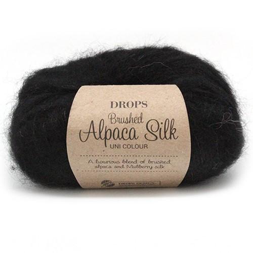 Drops Brushed Alpaca Silk Uni Colour 16 Black