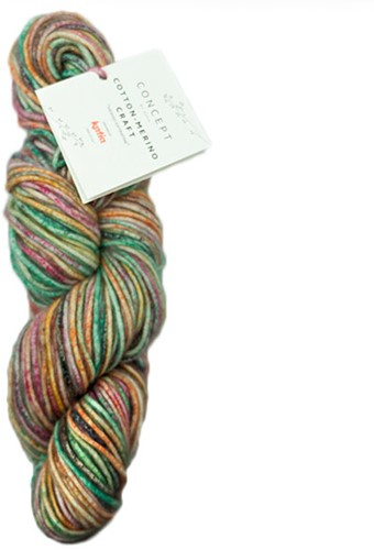 Katia Cotton Merino Craft 200 Green / Yellow / Fuchsia