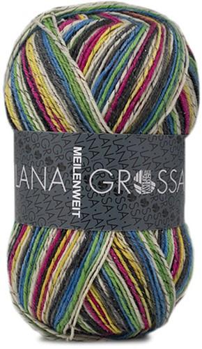 Lana Grossa Meilenweit 100 Glamy 2715 Dark Gray/Light Green/Yellow/Fuchsia