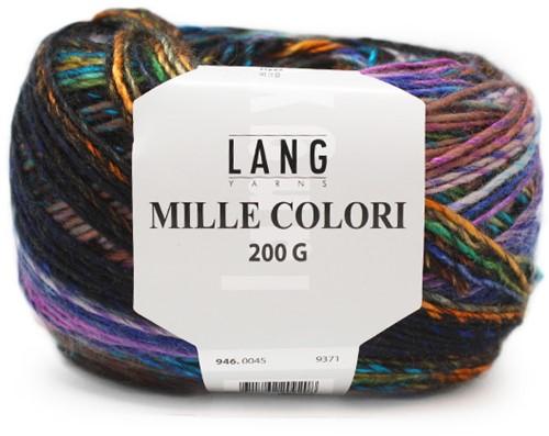 Lang Yarns Mille Colori 200 Gr. 45 Violet/Petrol/Orange