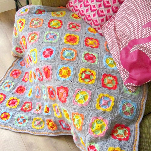 Crochet Pattern Acrylic Power Flower Blanket