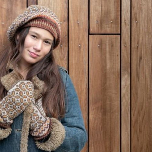 Knitting Pattern Forest Tweed Mittens and Beret