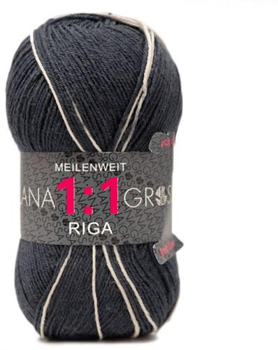 Lana Grossa Meilenweit 100 1:1 Riga 614 Dark Gray/Light Gray/Dark Blue