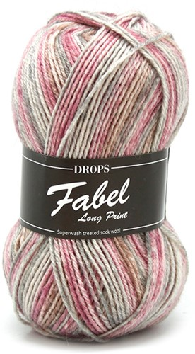 Drops Fabel Long Print 623 Rose-mist