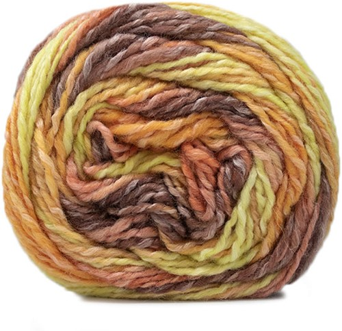 Lana Grossa Gomitolo Conseta 704 Brown Orange/Sweet Lime/Tulipwood/Golden Yellow