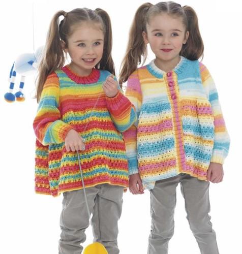 Knitting Pattern Stylecraft Wondersoft Merry Go Round DK No. 8969 Girls cardigan and sweater
