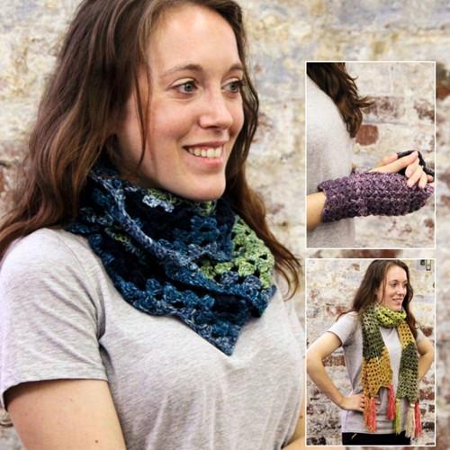 Crochet Pattern Stylecraft Batik Swirl DK No. 9489 Scarf, Cowl and Mittens