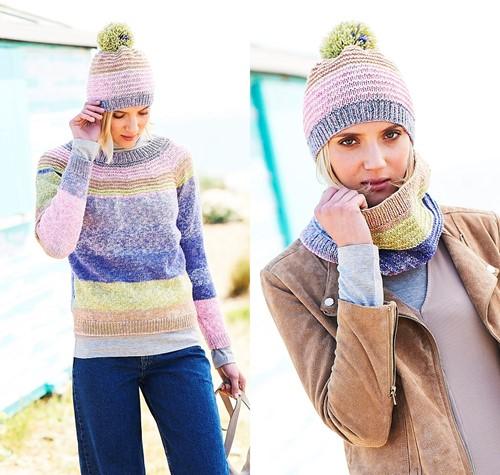 Knitting Pattern Stylecraft Batik Swirl DK No. 9671 Sweater, Cowl and Hat