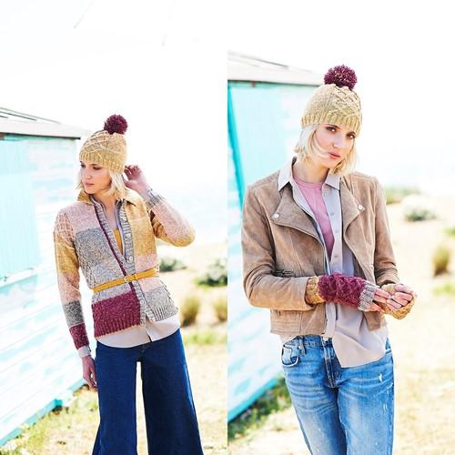 Knitting Pattern Stylecraft Batik Swirl DK No. 9672 Cardigan, Hat and Wrist Warmers