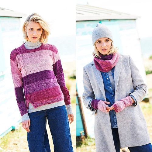 Knitting Pattern Stylecraft Batik Swirl DK No. 9674 Sweater, Scarf and Wrist Warmers
