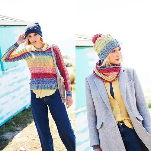 Knitting Pattern Stylecraft Batik Swirl DK No. 9676 Sweater, Cowl and Hat