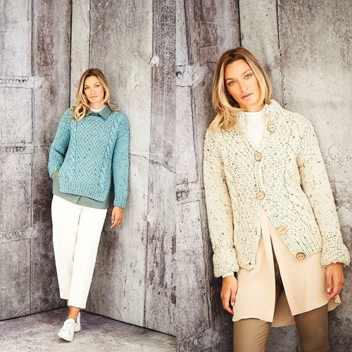 Knitting Pattern Stylecraft Special XL Tweed Super Chunky No. 9806 Ladies Sweater and Jacket
