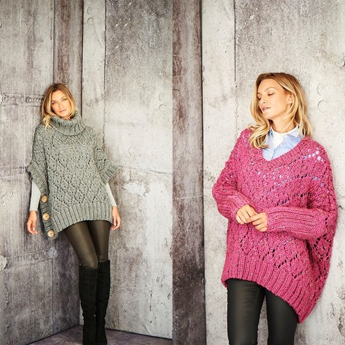 Knitting Pattern Stylecraft Special XL Tweed Super Chunky No. 9807 Ladies Poncho and Sweater