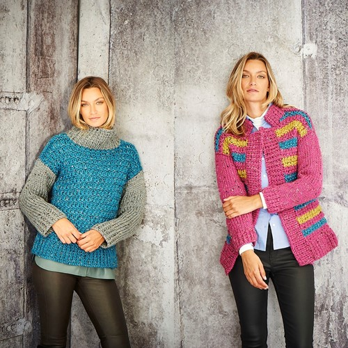 Knitting Pattern Stylecraft Special XL Tweed Super Chunky No. 9809 Ladies Sweater and Jacket