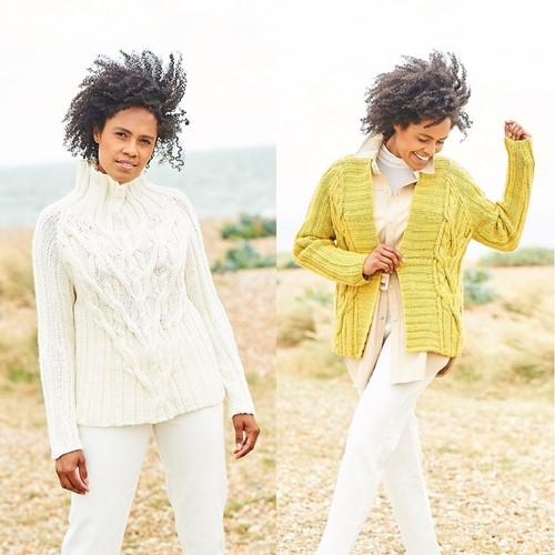 Knitting Pattern Stylecraft Softie Chunky No. 9814 Sweater and Cardigan