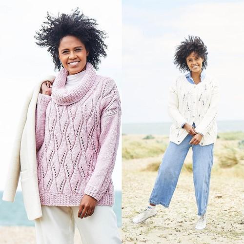 Knitting Pattern Stylecraft Softie Chunky No. 9816 Sweater and Cardigan