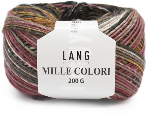 Lang Yarns Mille Colori 200 Gr. 98 Brown/Bordeaux/Yellow