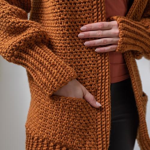 Yarn and Colors Morning Glory Cardigan Crochet Kit 2 Satay L