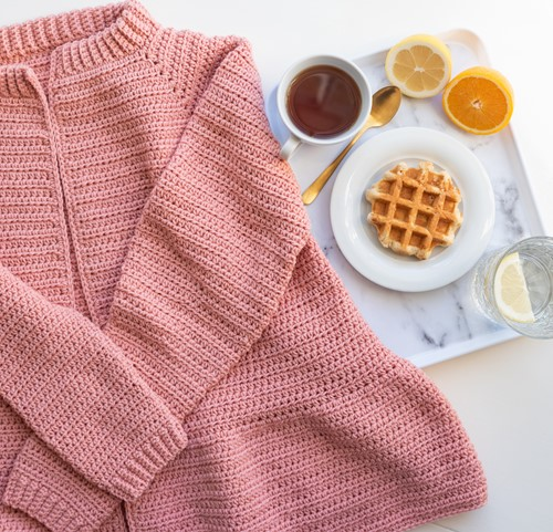 Yarn and Colors Afternoon Tea Cardigan Crochet Kit 2 Rosé XS