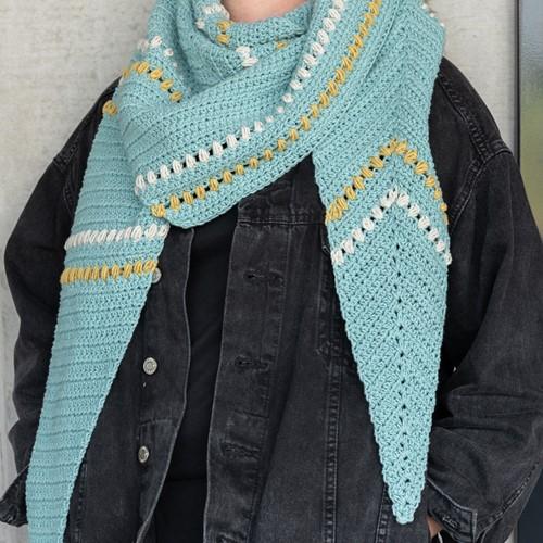 Crochet Pattern Yarn and Colors Asymmetrical Scarf