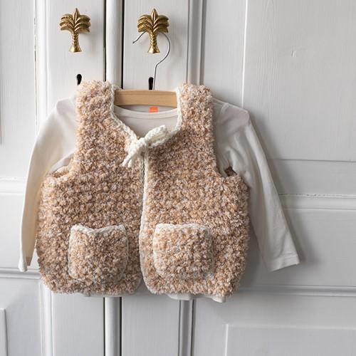 Hugg Kids Vest Knitting Kit 2 Beige 12/18 months