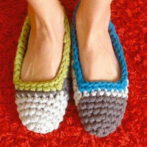 Crochet Pattern Big Ribbon Slippers