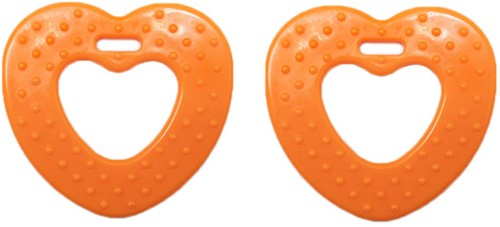 Durable Teether Heart With Studs 693 Orange