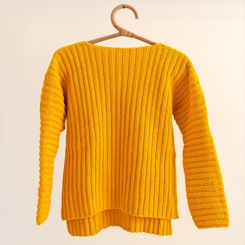 Yarn and Colors Brunch Time Sweater Crochet Kit 1 Mustard L