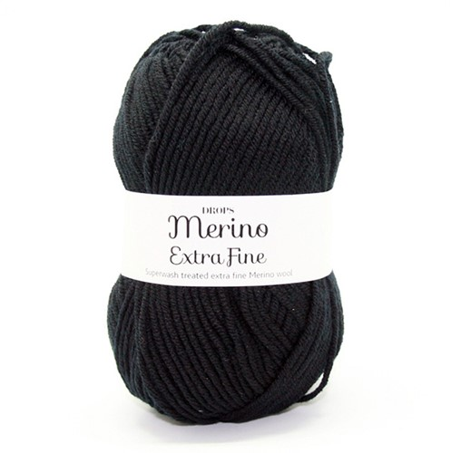 Drops Merino Extra Fine Uni Colour 02 Black