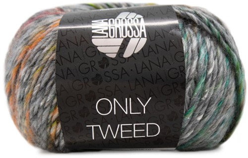 Lana Grossa Only Tweed 109 Grey Mix / Yellow / Green / Orange / Turquoise / Raspberry