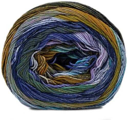 Lana Grossa Gomitolo Denim Inca 153 Yellow-Green / Petrol / Turquoise / Royal- / Night and Light Blue