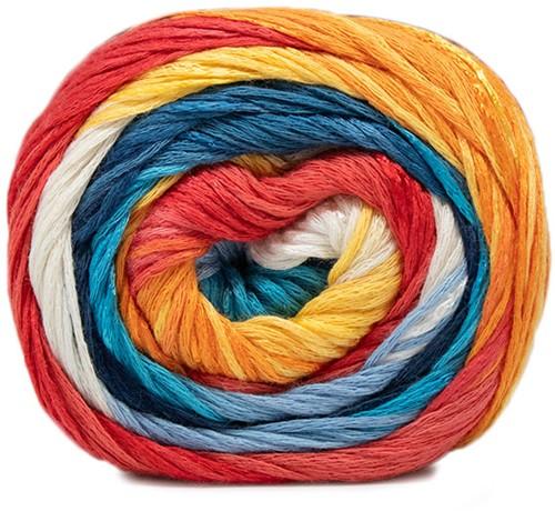 Lana Grossa Gomitolo Doppio 202 Blue / White / Yellow / Orange / Light Red / Salmon