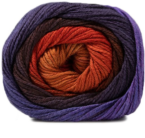 Lana Grossa Gomitolo Aloha 307 Night Blue / Blue-Violett / Bordeaux / Brown-Orange / Red-Brown / Pink