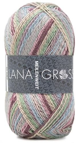 Lana Grossa Meilenweit 100 Glamy 2708 Pastel Green/Pink/Blue