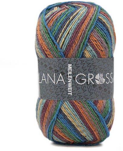 Lana Grossa Meilenweit 100 Glamy 2710 Orange/Green/Turquoise