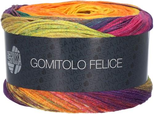 Lana Grossa Gomitolo Felice 711 Orange / lime green / eggplant / fuchsia / petrol / yellow / purple