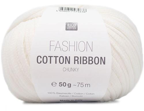 Rico Fashion Cotton Ribbon Chunky 01 White