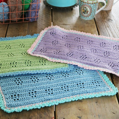 Crochet Pattern Coton 4 Spring Placemats