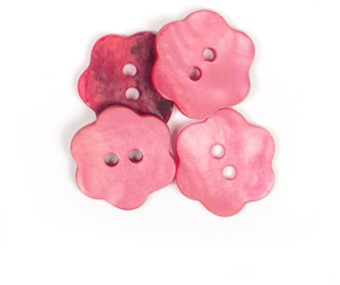 Drops Button Flower Red 15mm